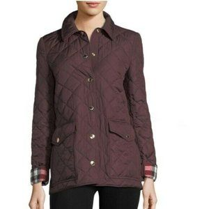 Burberry Burgundy Check Diamond Quilted Jacket M